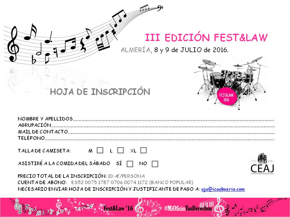 III EDICIÓN FEST&LAW - HOJA DE INSCRIPCION